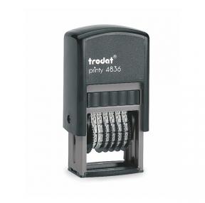Нумератор 6-разрядный, оттиск 15×3,8 мм, синий, TRODAT 4836, корпус черный (235583)