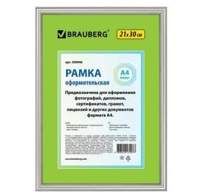 Рамка BRAUBERG «HIT2», 21×30 см, пластик, серебро