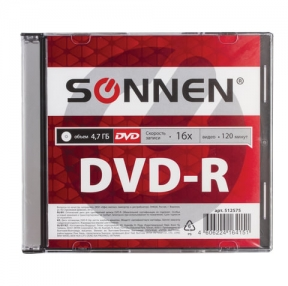 Диск DVD-R SONNEN, 4,7 Gb, 16x, Slim Case, 1 шт. (512575)