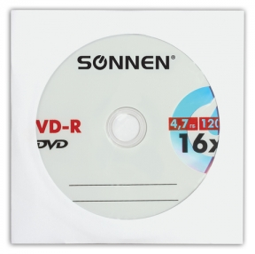 Диск DVD-R SONNEN, 4,7 Gb, 16x, бумажный конверт, 1 шт. (512576)