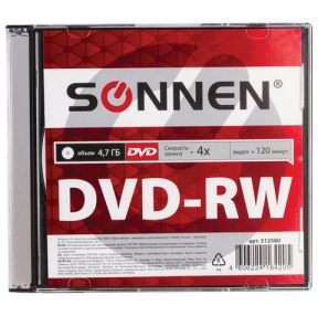 Диск DVD-RW (минус) SONNEN, 4,7 Gb, 4x, Slim Case, 1 шт. (512580)