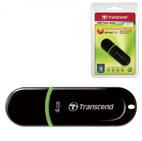 Флэш-диск 4 GB, TRANSCEND JetFlash 300, USB 2.0, черный