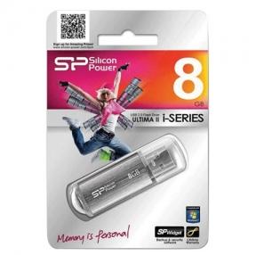 Флэш-диск 8 GB, SILICON POWER ultima II-I Series, USB 2.0, серебристый
