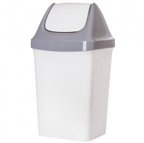 Ведро-контейнер 50 л, с крышкой (качающейся), для мусора, Свинг, 74×40×35 см, серое, IDEA, М2464 (600160)