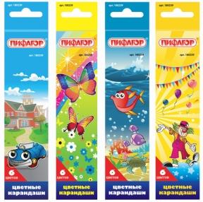 Карандаши цветные ПИФАГОР «Сказочный мир», 6 цветов, заточенные
