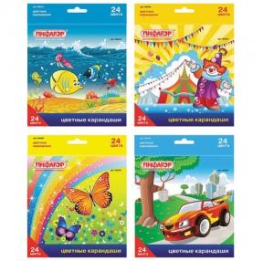 Карандаши цветные ПИФАГОР «Сказочный мир», 24 цвета, заточенные, картонная упаковка
