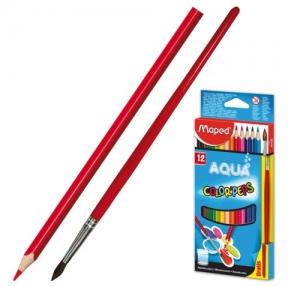Карандаши цветные акварельные MAPED «Color Pep's», 12 цветов + кисть, 2,9 мм