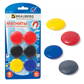 Магниты BRAUBERG , диаметр 40 мм, 6 шт., цвет ассорти, в блистере