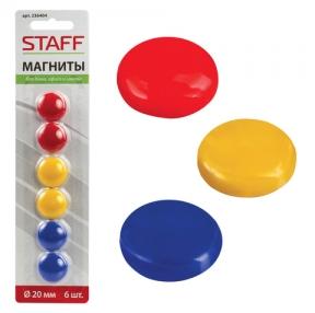 Магниты STAFF, диаметр 20 мм, 6 шт., ассорти