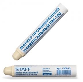 Маркер промышленный STAFF ПМ-100, твердый, для любых неровных поверхностей, белый