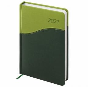 Ежедневник датированный 2021 А5 (138×213 мм) BRAUBERG Bond, кожзам, зеленый/салатовый, (111405)