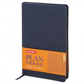 Ежедневник датированный 2021 А5 (138×213 мм) BRAUBERG Stylish, кожзам, темно-синий (111438)