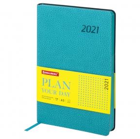 Ежедневник датированный 2021 А5 (138×213 мм) BRAUBERG Stylish, кожзам, бирюзовый (111440)
