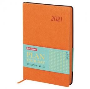 Ежедневник датированный 2021 А5 (138×213 мм) BRAUBERG Stylish, кожзам, оранжевый (111444)
