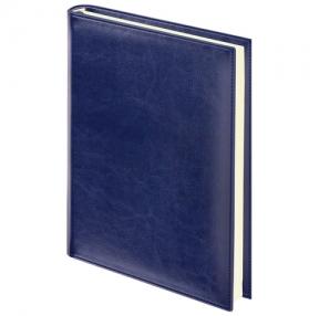 Ежедневник BRAUBERG недатированный, А5, 138×213 мм, Imperial, под гладкую кожу, 160 л., тем.-синий, кремовый блок (123413)