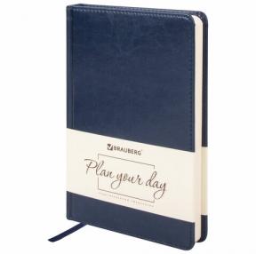 Ежедневник недатированный А5 (138×213 мм) BRAUBERG Imperial, под гладкую кожу, 160 л., кремовый блок, темно-синий (123413)