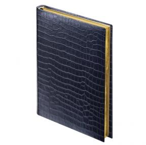 Ежедневник недатированный А5 (138×213 мм) BRAUBERG «Comodo», под матовую крокодиловую кожу, 160 л., крем. блок, золотой срез, черный (124974)