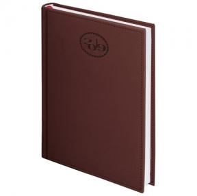 Ежедневник датированный 2019, А6, BRAUBERG «Favorite», фактурная кожа, коричневый, 100×150 мм (129002)