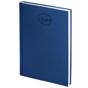 Ежедневник датированный 2019, А6, BRAUBERG «Favorite», фактурная кожа, темно-синий, 100×150 мм (129003)