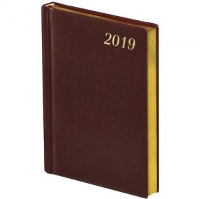 Ежедневник датированный 2019, А5, BRAUBERG «Iguana», кремовый блок, золотой срез, КОРИЧНЕВЫЙ, 138×213 мм (129087)