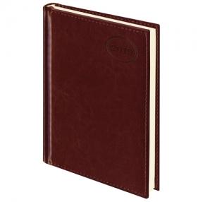 Ежедневник датированный 2019, А5, BRAUBERG «Imperial», гладкая кожа, кремовый блок, КОРИЧНЕВЫЙ, 138×213 мм