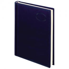 Ежедневник датированный 2019, А5, BRAUBERG «Imperial», гладкая кожа, кремовый блок, ТЕМНО-СИНИЙ, 138×213 мм (129090)