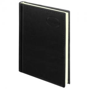 Ежедневник датированный 2019, А5, BRAUBERG «Imperial», гладкая кожа, кремовый блок, ЧЕРНЫЙ, 138×213 мм (129091)