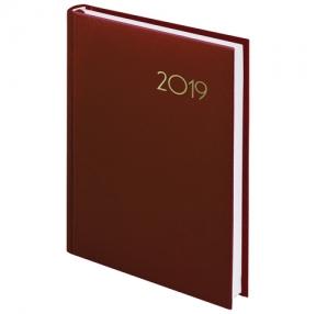 Ежедневник датированный 2019, А5, BRAUBERG «Select», кожа классик, КОРИЧНЕВЫЙ, 138×213 мм (129100)