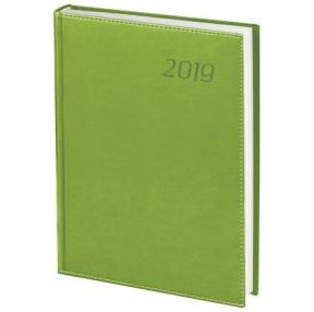 Ежедневник датированный 2019, А5, BRAUBERG «Rainbow», гладкая кожа, ЗЕЛЕНЫЙ, 138×213 мм (129112)