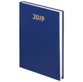 Ежедневник датированный 2019, BRAUBERG, А5, твердый переплет, бумвинил, синий, 145×215 мм (129262)