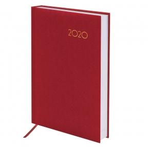 Ежедневник датированный 2020, А5, BRAUBERG, Select, кожа классик, красный, 138×213 мм (129712)