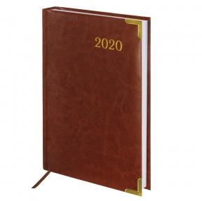Ежедневник датированный 2020, А5, BRAUBERG, Senator, гладкая кожа, металлические углы, коричневый, 138×213 мм (129719)
