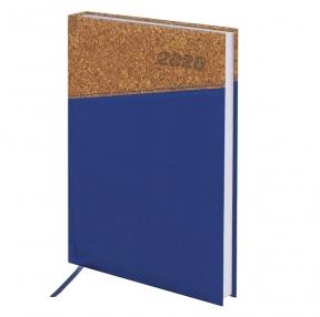 Ежедневник датированный 2020, А5, BRAUBERG, Cork, кожзам/пробка, синий, 138×213 мм (129733)