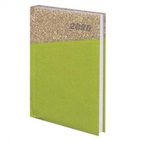 Ежедневник датированный 2020, А5, BRAUBERG, Cork, кожзам/пробка, зеленый, 138×213 мм (129734)