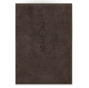 Ежедневник датированный , 2019, КОРИЧНЕВЫЙ, А5, 352 стр., обстрочка обложки по периметру (47410)