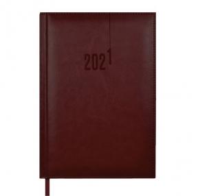 Ежедневник датированный 2021 А5 КОРИЧНЕВЫЙ САРИФ-ЭКОНОМ (кожзам 146*211мм, 176л, тверд.переплет, офсет 70г/м2)(52315)