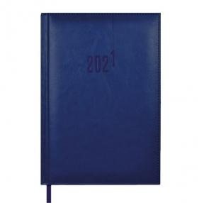 Ежедневник датированный 2021 А5 ТЕМНО-СИНИЙ САРИФ-ЭКОНОМ (кожзам 146х211мм, 176л,,твердый переплет с поролоном, офсет 70г/м2)
