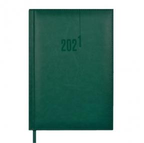 Ежедневник датированный 2021 А5 ЗЕЛЕНЫЙ САРИФ-ЭКОНОМ (кожзам 146х211мм тверд.переплет с поролоном, белый офсет 70г/м2)(52318)