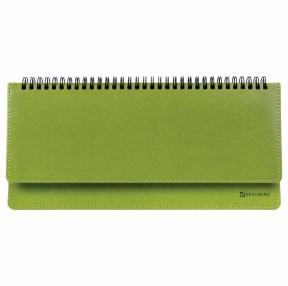 Планинг настольный недатированный (305×140 мм) BRAUBERG Rainbow, кожзам, зеленый (111702)