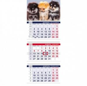 Календарь квартальный 2020 г, «Офис», 3 блока на 3-х гребнях, Пушистые друзья, HATBER (111189)