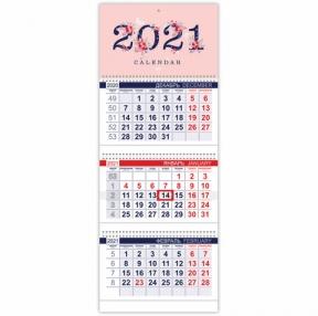 Календарь квартальный с бегунком, 2021 год, 3-х блочный, 3 гребня, ОФИС, Нежные цветочки HATBER (112256)