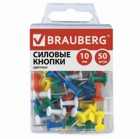 Силовые кнопки-гвоздики BRAUBERG, цветные, 50 шт., в пластиковой коробке (221117)