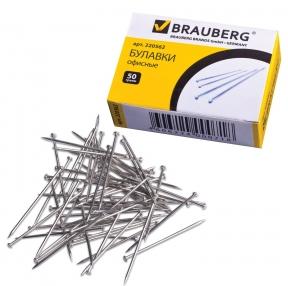 Булавки офисные BRAUBERG, 24 мм, 500 шт., в картонной коробке (220562)