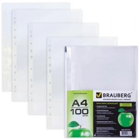 Папки-файлы перфорированные А4 BRAUBERG, КОМПЛЕКТ 100шт., гладкие, Яблоко, 0,035 мм
