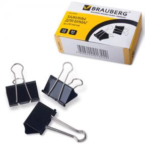 Зажимы для бумаг BRAUBERG, комплект 12 шт., 51 мм, на 230 л., черные, в картонной коробке