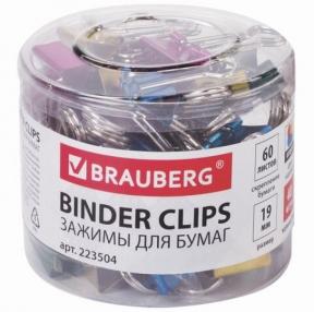 Зажимы для бумаг BRAUBERG, комплект 40 шт., 19 мм, на 60 л., цвет металлик, в пластиковом цилиндре (223504)