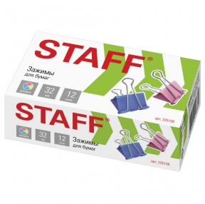 Зажимы для бумаг STAFF Profit, комплект 12 шт., 32 мм, на 140 листов, цветные, картонная коробка (225158)