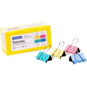 Зажимы для бумаг 32мм, OfficeSpace, 12шт., цветные, картонная коробка (257954)