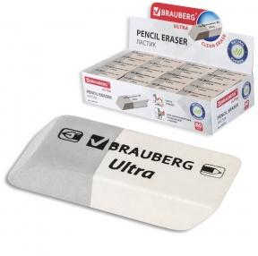 Ластик BRAUBERG Ultra, 41×14×8 мм, серо-белый, натуральный каучук (228703)
