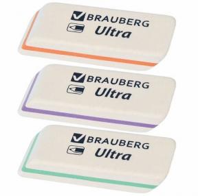 Ластик BRAUBERG Ultra, 50×14×8 мм, белый, детали ассорти, натуральный каучук (228704)